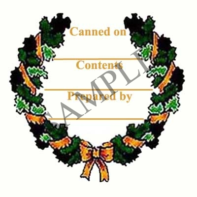 Christmas Wreath with Bow Round Canning Label #L112