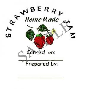 Strawberry Jam Round Canning Label #L129