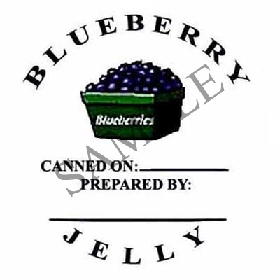 Blueberry Jelly Round Canning Label #L134