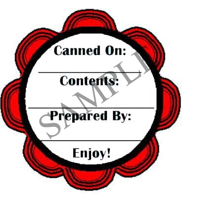 Red Scallop Round Canning Label #L233