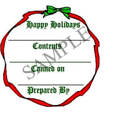 Christmas Bow Round Canning Label #L244