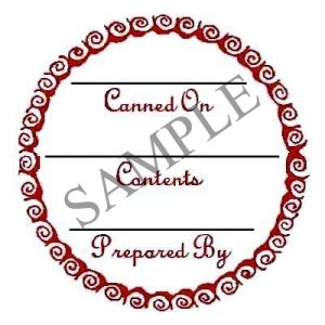 Red Curls Round Canning Label #L249