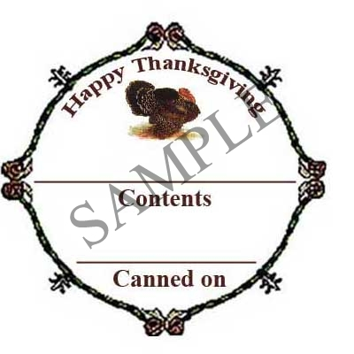 Filigree Happy Thanksgiving Round Canning Label #L274