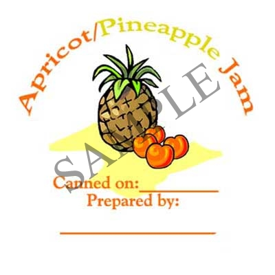 Apricot Pineapple Jam Round Canning Label #L294