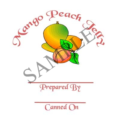 Mango Peach Jelly Round Canning Label #L314