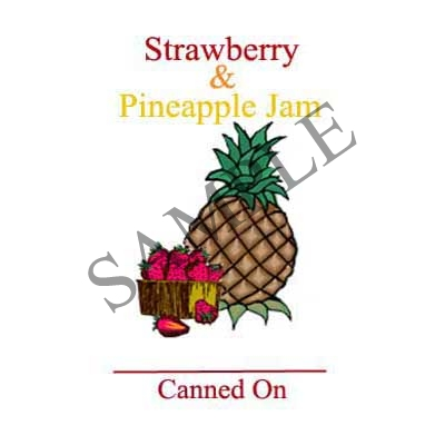 Strawberry and Pineapple Jam Round Canning Label #L317