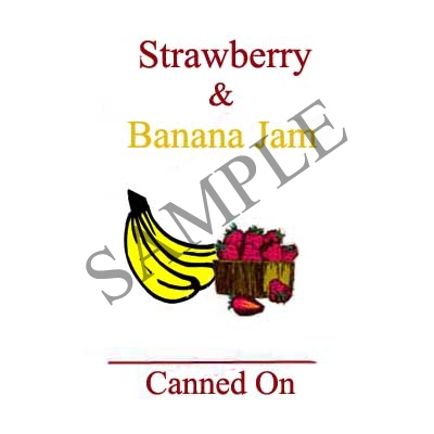 Strawberry and Banana Jam Round Canning Label #L327
