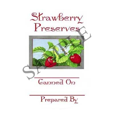 Strawberry Preserves Round Canning Label #L328
