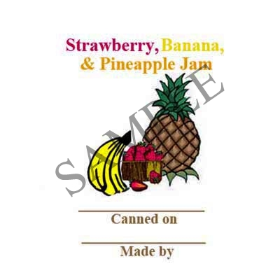 Strawberry Banana Pineapple Jam Round Canning Label #L329