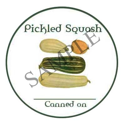 Pickled Squash Sample Round Canning Label #L330