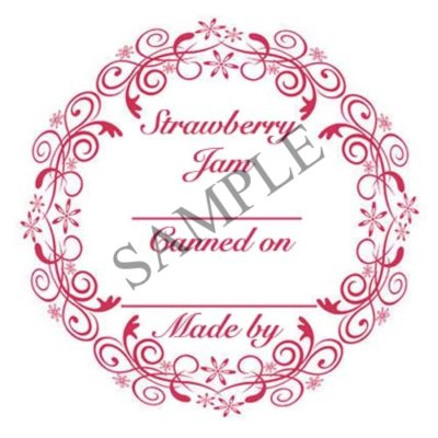 Strawberry Jam Round Canning Label #L338