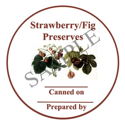 New Strawberry and Fig Preserves Round Canning Label