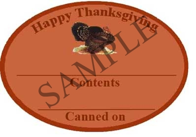Happy Thanksgiving Oval Canning Label #OV316