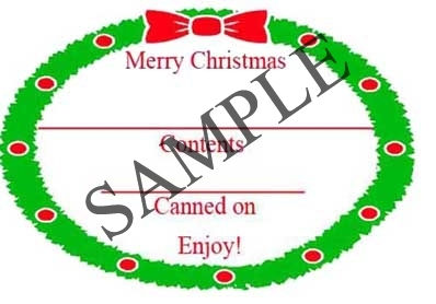 Christmas Wreath Border Oval Canning Label #OV317