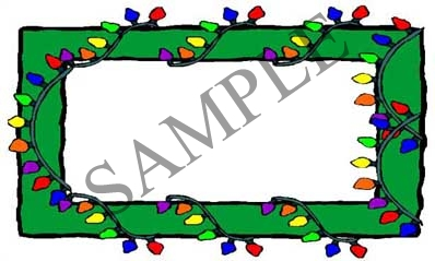 Christmas Lights Blank Rectangle Canning Label #RB119