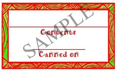 Drapes Red & Green Border Rectangle Canning Label #RCT113