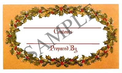 Holly w/Filled Border Rectangle Canning Label #RCT124