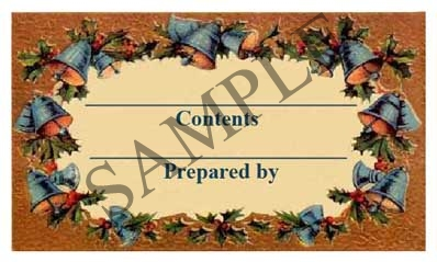 Christmas Bells w/Filled Borders Rectangle Canning Label #RCT127